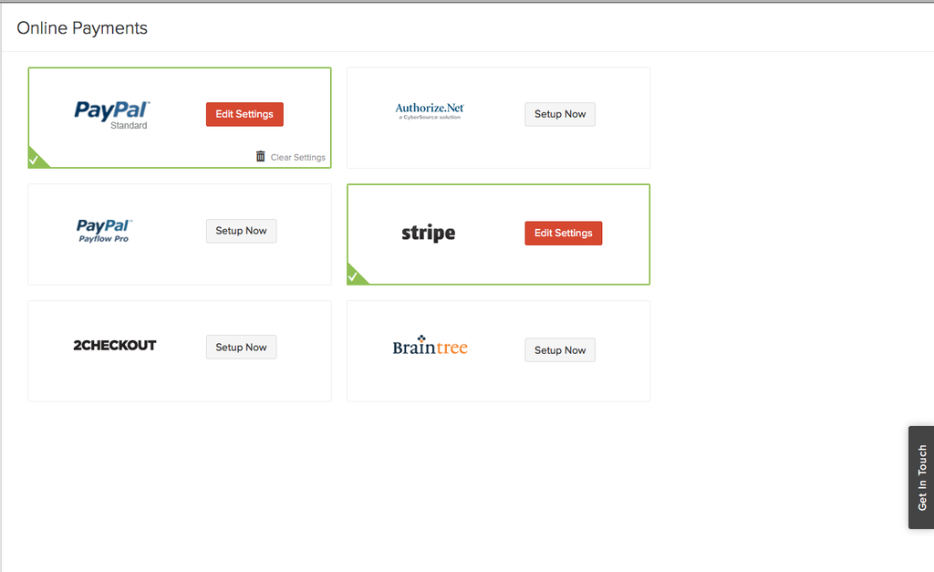 Zoho Books screenshot showing how it allows online payment integration by way of PayPal, Stripe, and others.