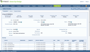 Screenshot of Intacct (Sales Invoice)