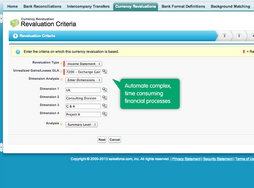 Screenshot of FinancialForce Accounting (Currency revaluation)
