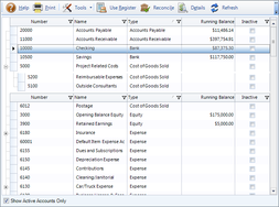 Screenshot #3 of BillQuick (Chart of Accounts)