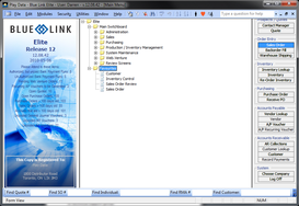 Screenshot of Blue Link ERP (Blue Link Elite - Main Menu)
