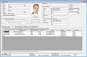 Screenshot of Blue Link ERP (Contact Management)