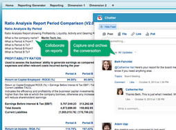 Screenshot #4 of FinancialForce Accounting (Ratio analysis report with embedded Chatter)