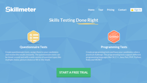Screenshot #1 of Skillmeter (Website homepage)